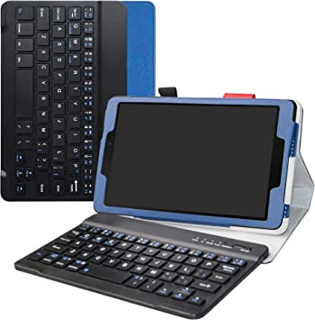 Labanema Galaxy Tab A 8.0 2019 Teclado Funda, PU Estuche con Wireless Teclado Cover QWERTY para 8.0