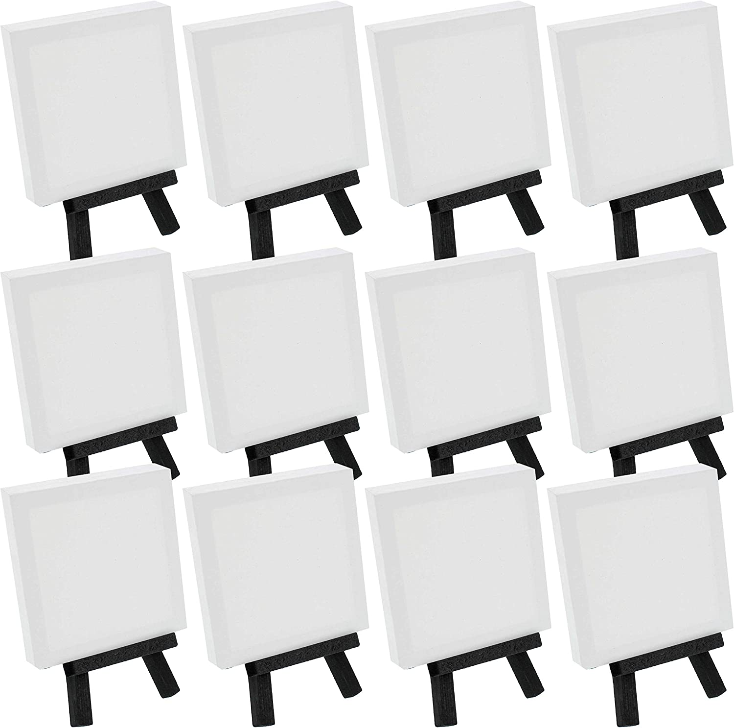 Noblik Artists 3 inch x3 inch Canvas /& 5 inch Easel Set Painting Craft Drawing 12 Canvases /& 12 Easels Set Contains