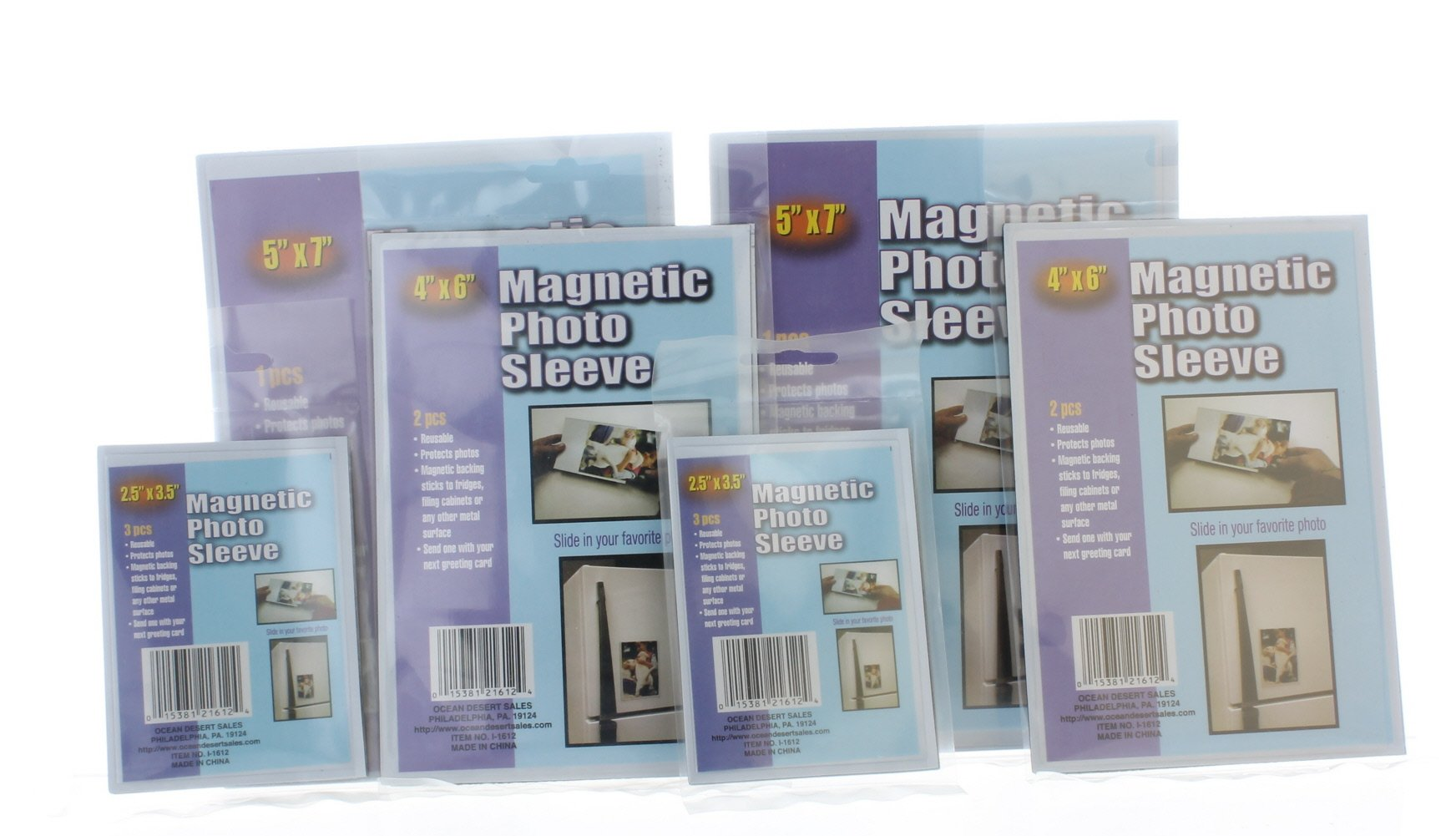 ODS 12 pc Magnetic Photo Sleeve Set Assorted Size Picture Frames Image Insert Holder