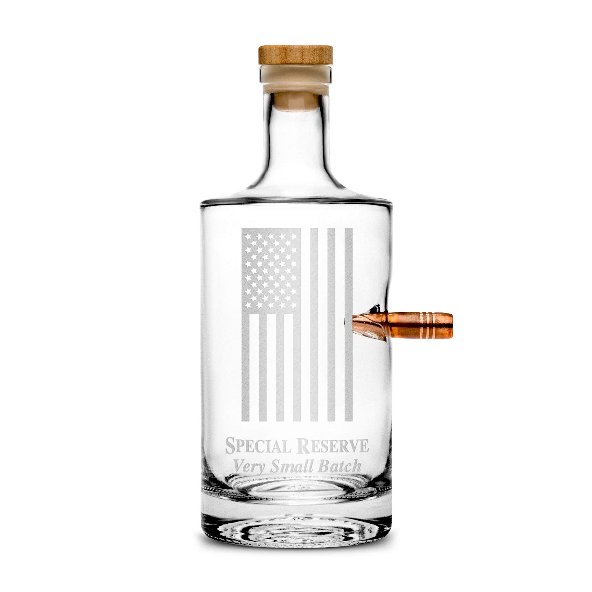Premium .50 Cal BMG Bullet Bottle, American Flag, Hand Etched 750mL Round Jersey Decanter, Cork Top, Made in USA, Drinking Gifts, Etched with Honor by Integrity Bottles