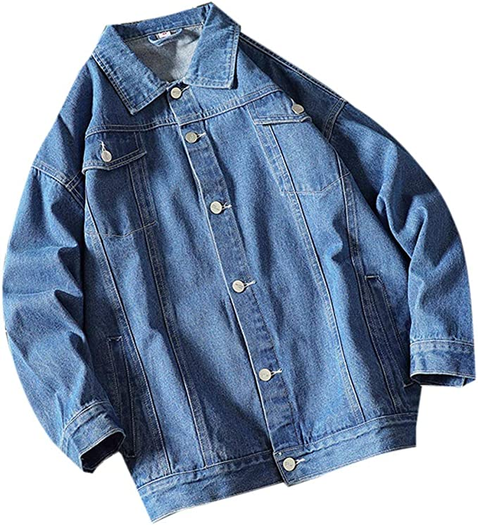 Wilngo Men Retro Long Sleeve Button Down Cotton Denim Jacket Jean Coat with Pockets