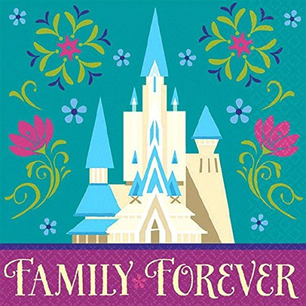 Disney Frozen Beverage Napkins Birthday Party Tableware Supply (16 Pack), Teal/Violet, 5