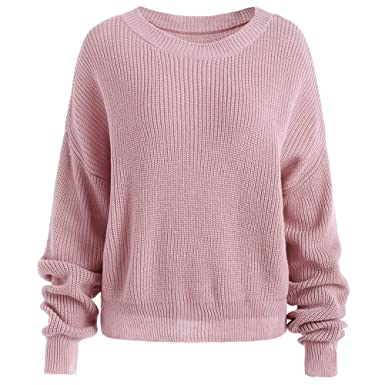 5404f10cc CharMma Women s Casual Drop Shoulder Solid Block Chunky Knit ...