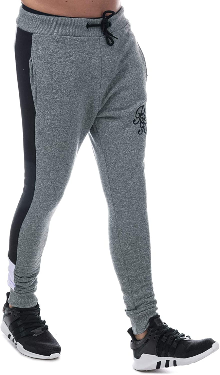 Mens Beck and Hersey Janus Jog Pants in Grey External Ribbed Waist and Cuffs