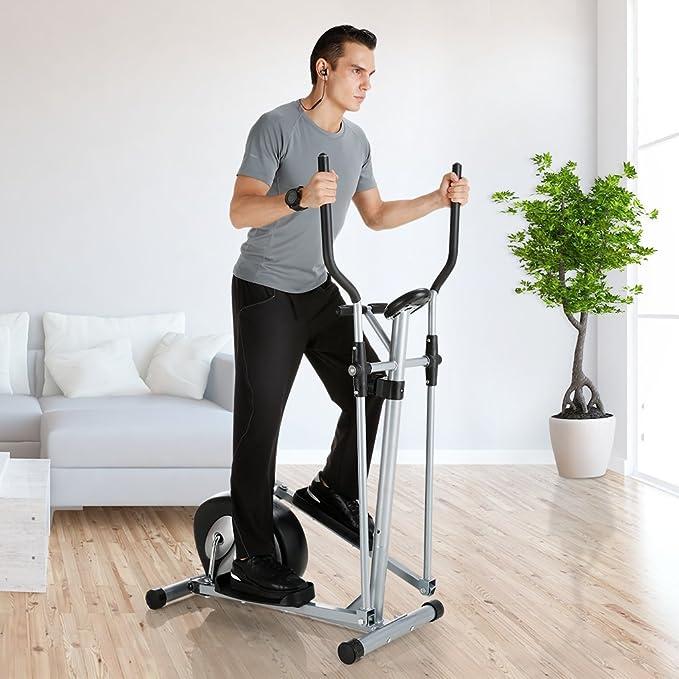 Finether - Bicicleta Elíptica Multifuncional, Bicicleta de ejercicios con pulso de mano, monitor de pantalla, 8 niveles de resistencia y ruedas de ...