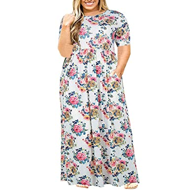 0dfb9aa2daf8 Women Scoop Neck Short Sleeve Loose Plain Casual Plus Size Long Maxi Dress  with Pockets White