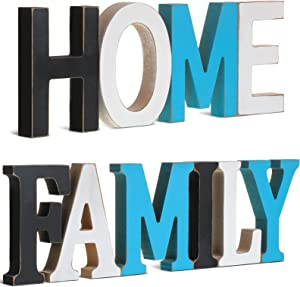 2 Sets Wood Home Sign and Rustic Wood Family Sign Decorative Wooden Block Letters Freestanding Cutout Word Table Decor Multicolored Centerpiece for Home Kitchen Living Room Table Fireplace Decor