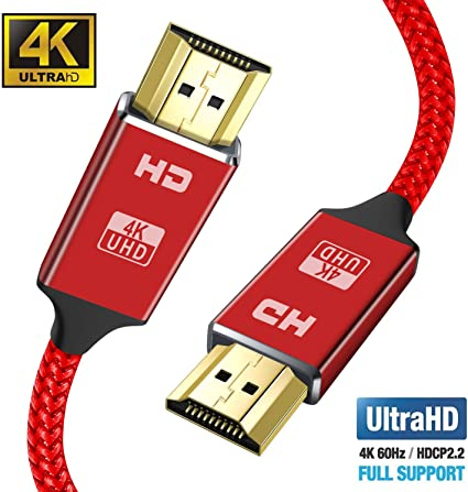 PowerBear HDMI Cable 6 ft Gold Plated Connectors and High-Strength Braided Nylon HDMI Cord - 4K HDMI 2.0 Cable UHD 18Gbs with Audio and Ethernet 24 Month Warranty Ultra-HD 6 Feet - 2 Pack