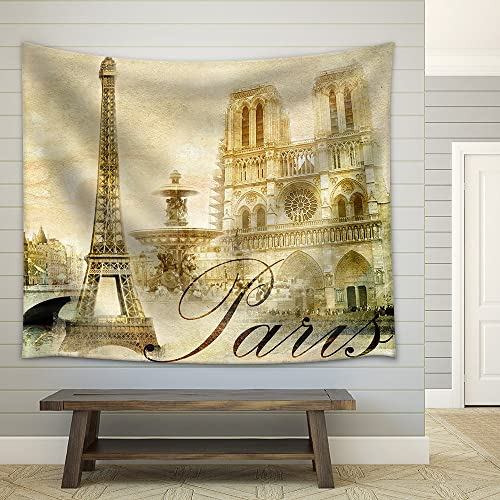 wall26 – Amazing Paris – Vintage Clipart – Fabric Wall Tapestry Home Decor – 68×80 inches