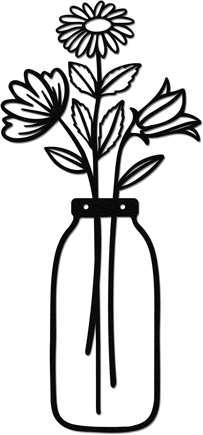 Vase Metal Wall Art, Qmetalart Flower in Vase Wall Decorations for Living Room Kitchen Bedroom Bathroom Home Wall Decor Lovers Housewarming Gift - Wide