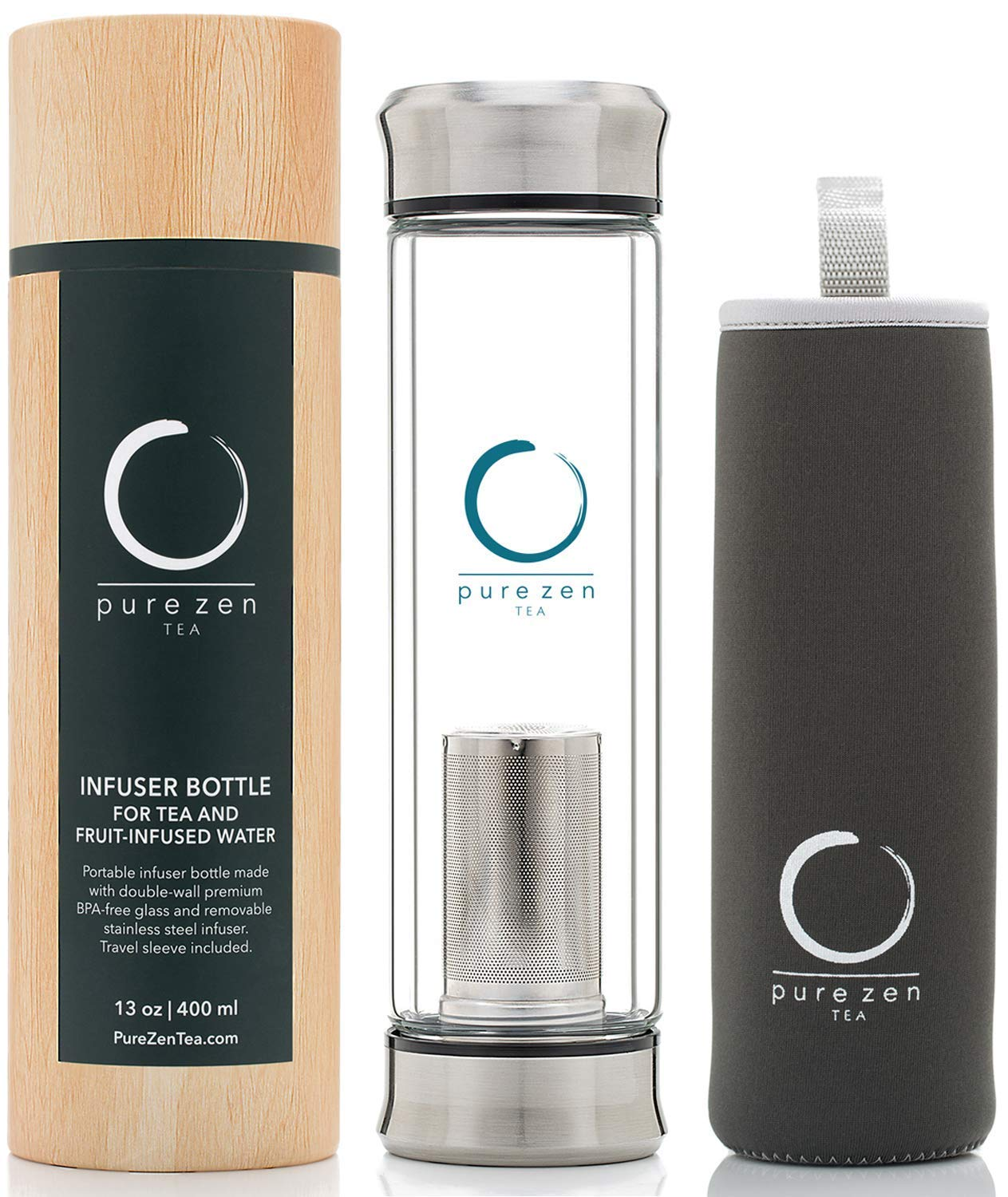 Pure Zen Tea Tumbler with Infuser - BPA Free Double Wall Glass Travel Tea Mug with Stainless Steel Filter - Leakproof Tea Bottle with Strainer for Loose Leaf Tea and Fruit Water 13 Ounce by Pure Zen Tea