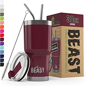 Greens Steel Beast Tumbler Stainless Steel Vacuum Insulated Coffee Ice Cup Double Wall Travel Flask (30 oz, Cranberry)