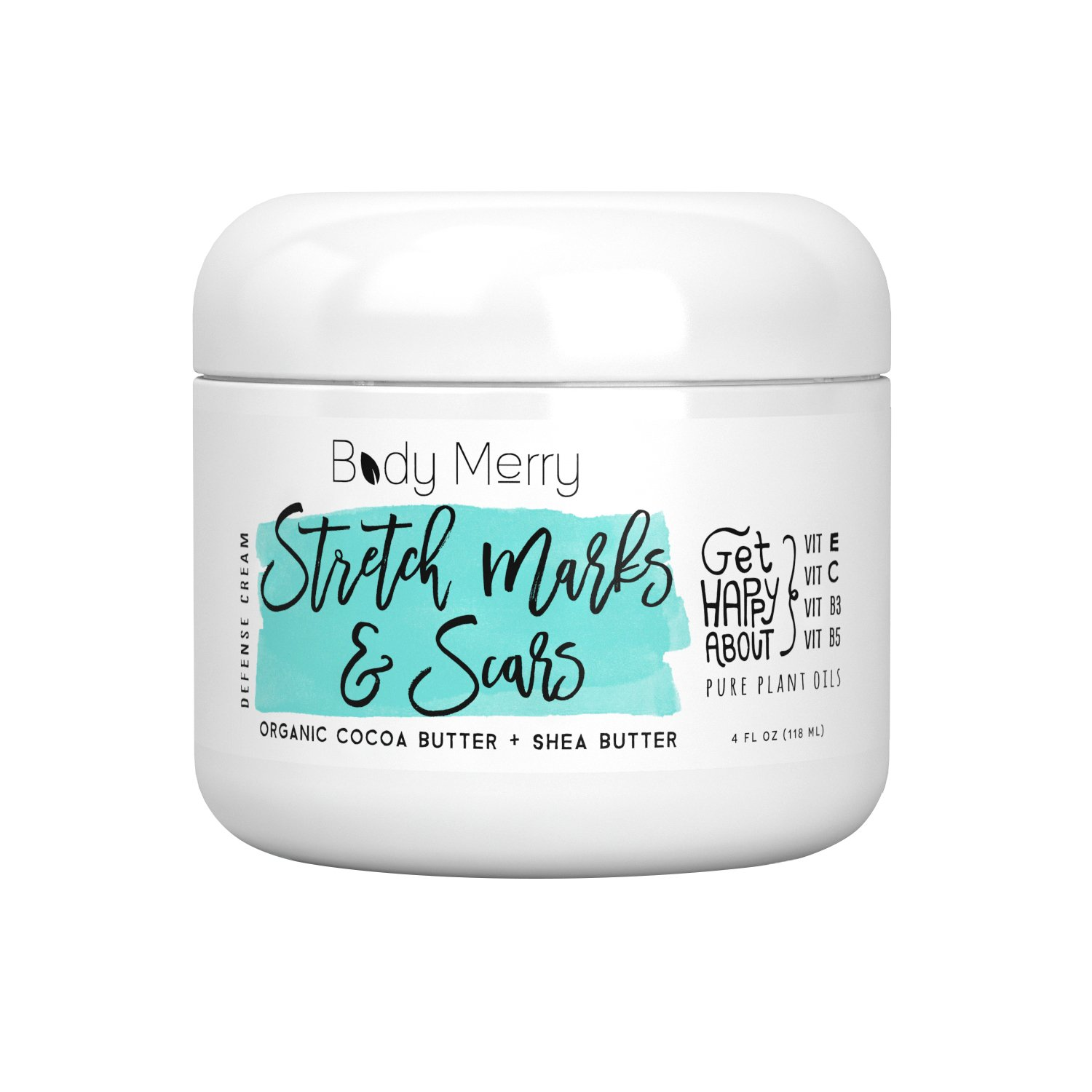 Stretch Marks & Scars Defense Cream- Daily Moisturizer w Organic Cocoa Butter + Shea + Plant Oils + Vitamins to Prevent, Reduce and Fade Away Old or New Scars Best for Pregnancy, Men/Bodybuilders