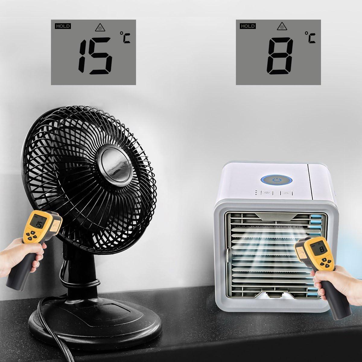 Ventilador Aire Fr¨ªo Enfriador Espacio Personal Refrigerador Humidificador Purificador de Aire Port¨¢til 3 Velocidades Ajustable LED 7 Colores: Amazon.es: Hogar