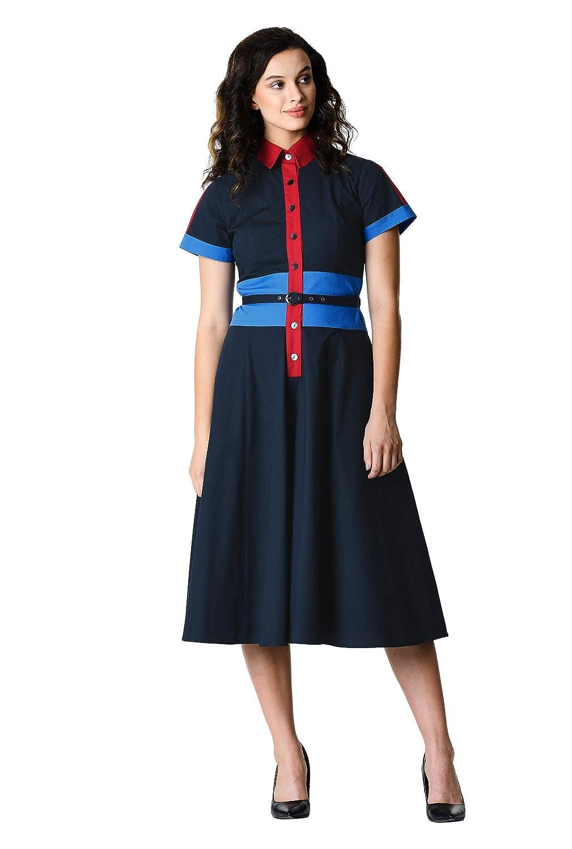 1960s Dresses | 60s Dresses Mod, Mini, Jakie O, Hippie eShakti Womens Colorblock Empire Waist Belted Shirtdress $64.95 AT vintagedancer.com