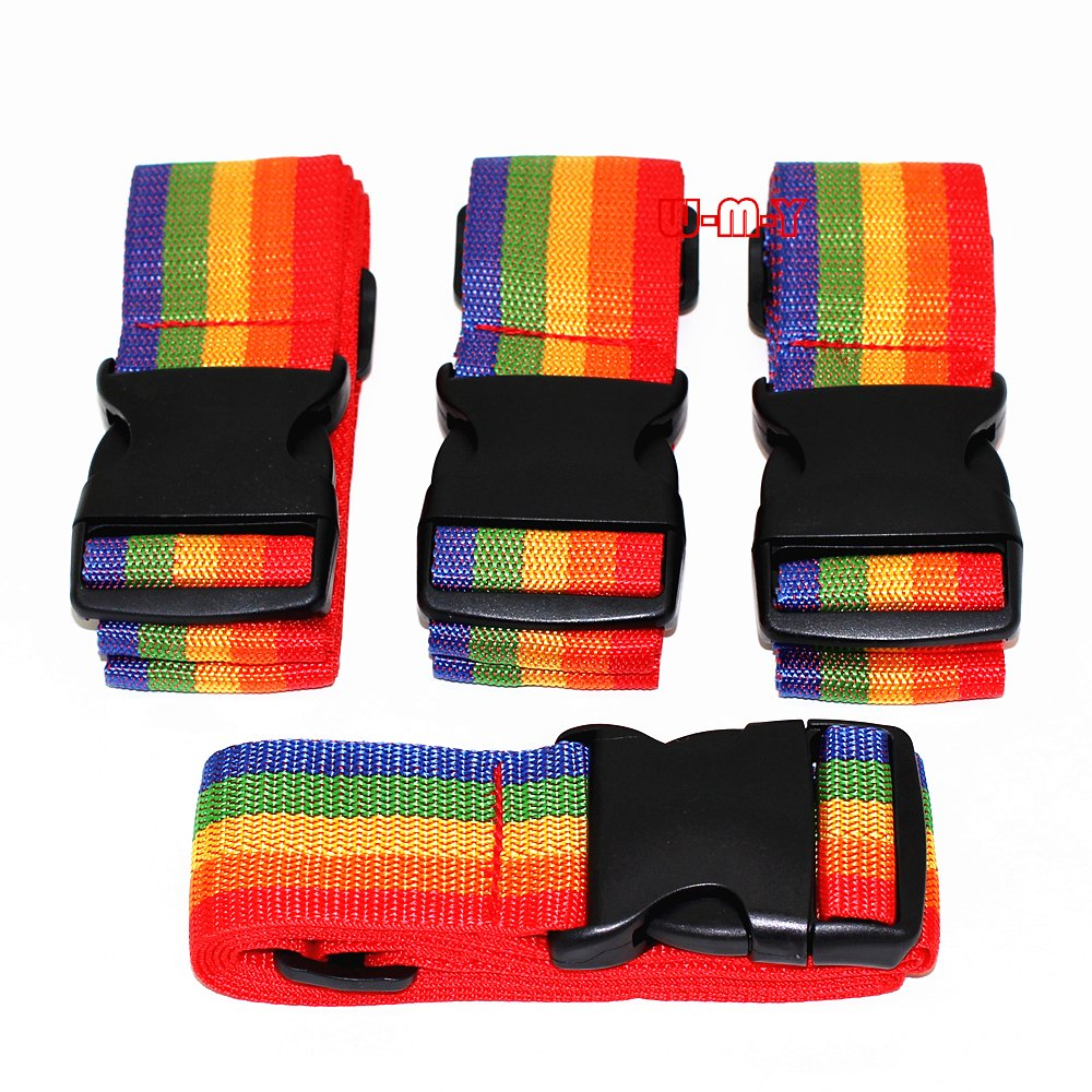 M-W 2 Wide 36.5-73 Long Adjustable Travel Luggage Strap Packing Belt Suitcase Baggage Security Straps PACK OF 4