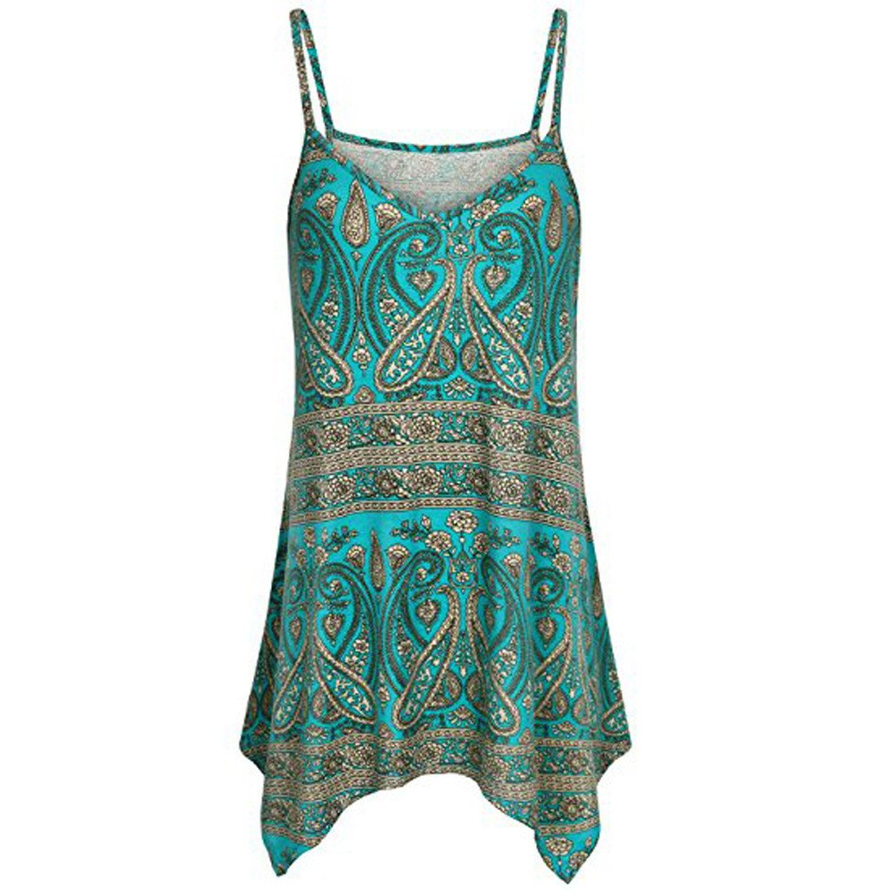 VANSOON Tank Tops for Women Handkerchief Hem Flowy Top Print Summer Spaghetti Strap Camisoles Green