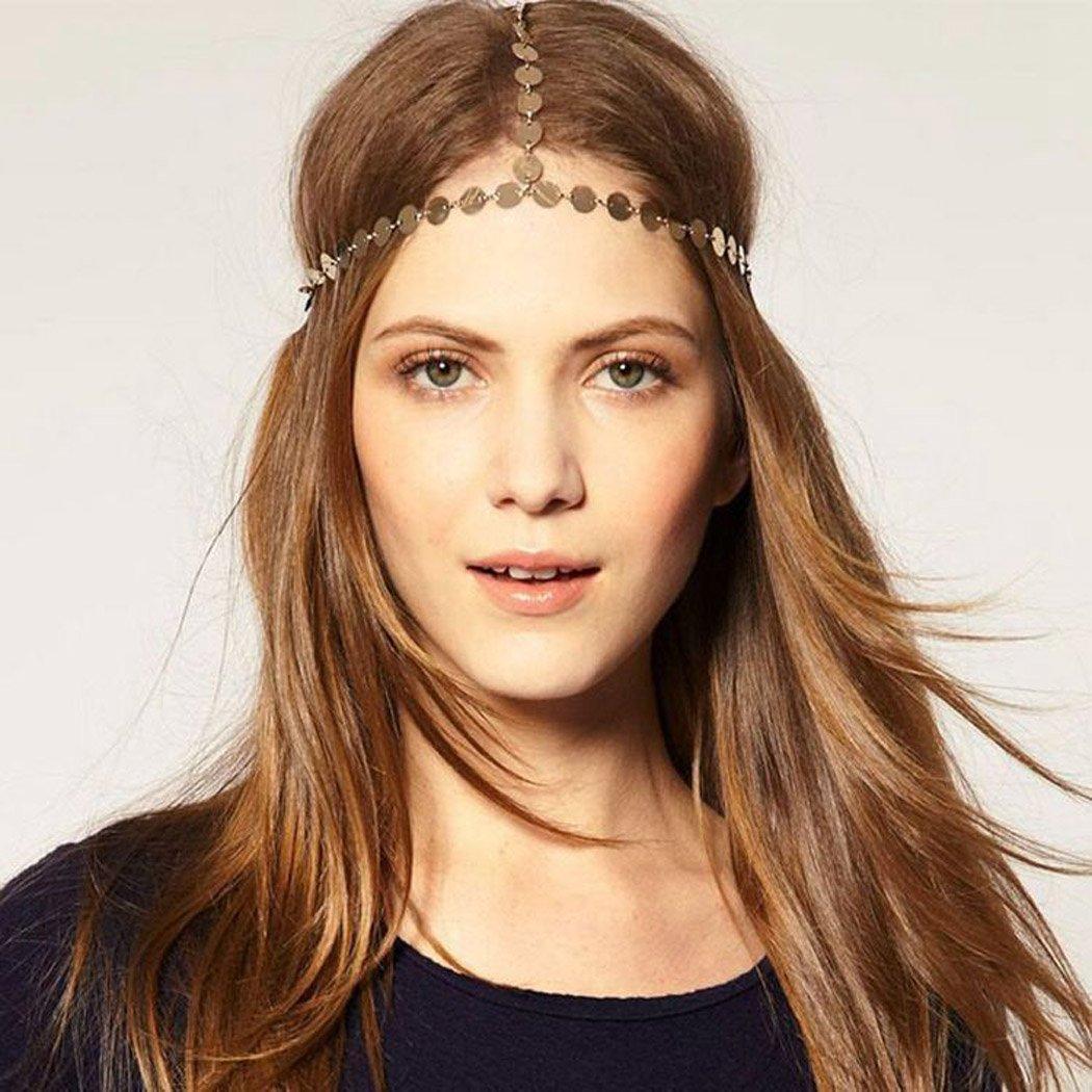 Jovono - Cadenas de cabeza de oro simple con lentejuelas, accesorio para el pelo, bohemio para mujeres y niñas