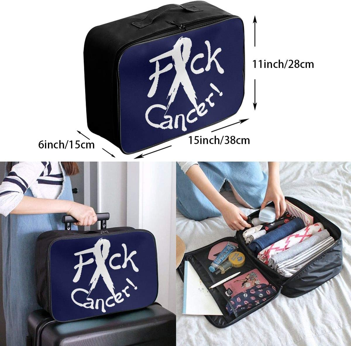 Fck Cancer Carry Lightweight Large Capacity Portable Travel Luggage Trolley Bag
