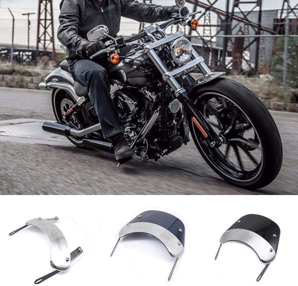 Durchsichtig Dengofng Universal 5-7 Zoll Edelstahl Motorrad Styling Scheinwerfer Halterung Windschutz Windabweiser Free Size