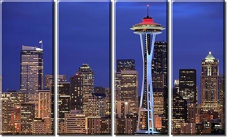 Picture Sensations Framed Huge 4-Panel Seattle Skyline Giclee Canvas Print