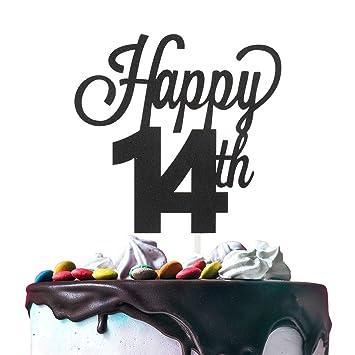 Decoración para tarta de 14 cumpleaños, doble cara, papel de ...