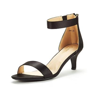 cfc6c1eabe177 DREAM PAIRS Women's Fiona Black Satin Fashion Stilettos Open Toe Pump Heeled  Sandals Size 5 B