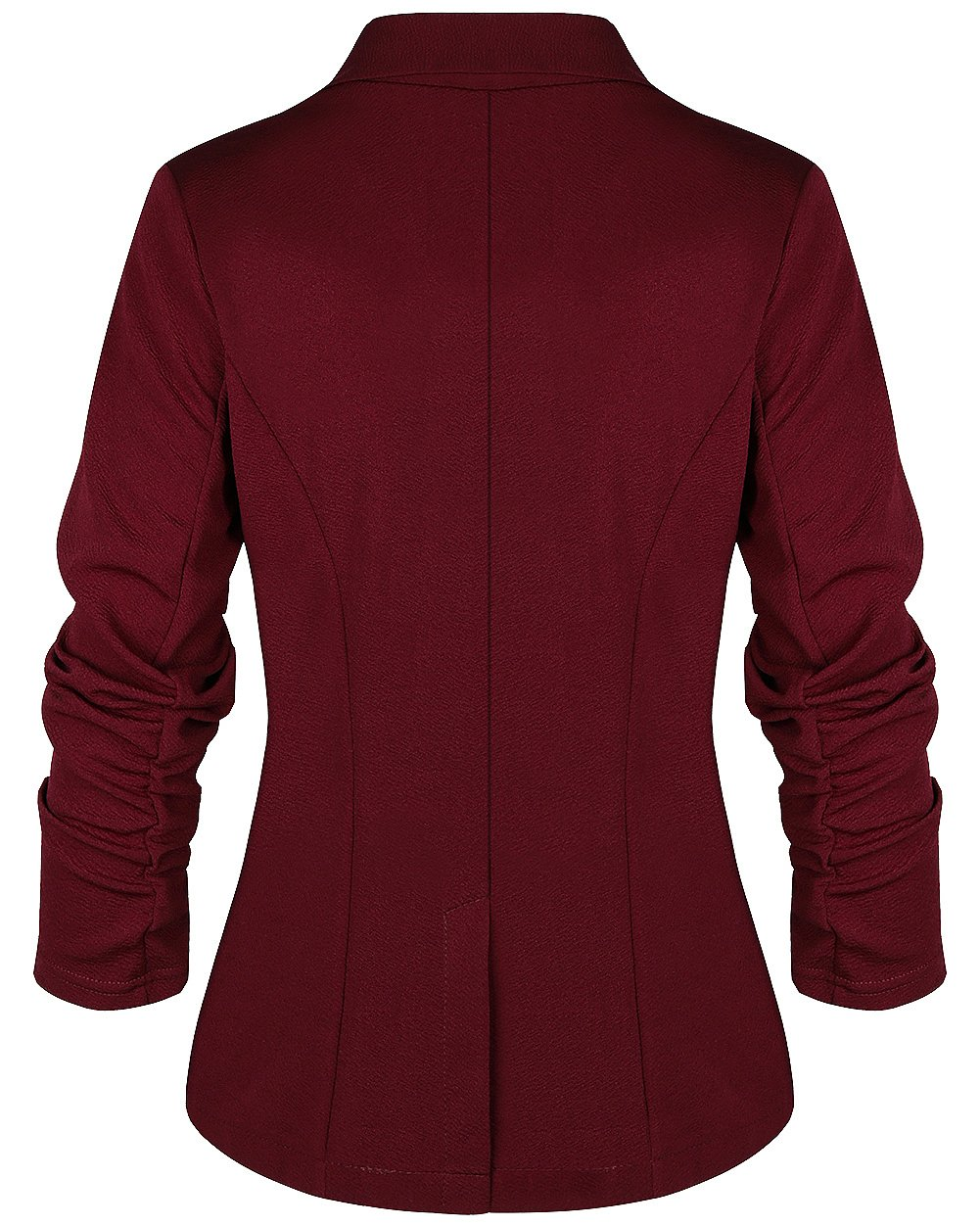 sanatty Women's 3/4 Ruched Sleeve Open Front Lightweight Work Office Blazer Jacket,Winered,Small by sanatty (Image #3)