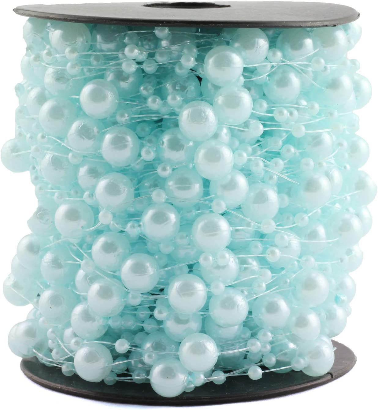 NX Garden Pearl Garland 30m Fishing Line Artificial Pearls Beads Chain String Garland Roll Pearl Beaded Trim for DIY Wedding Party Bouquet Decor 8mm and 3mm Blue