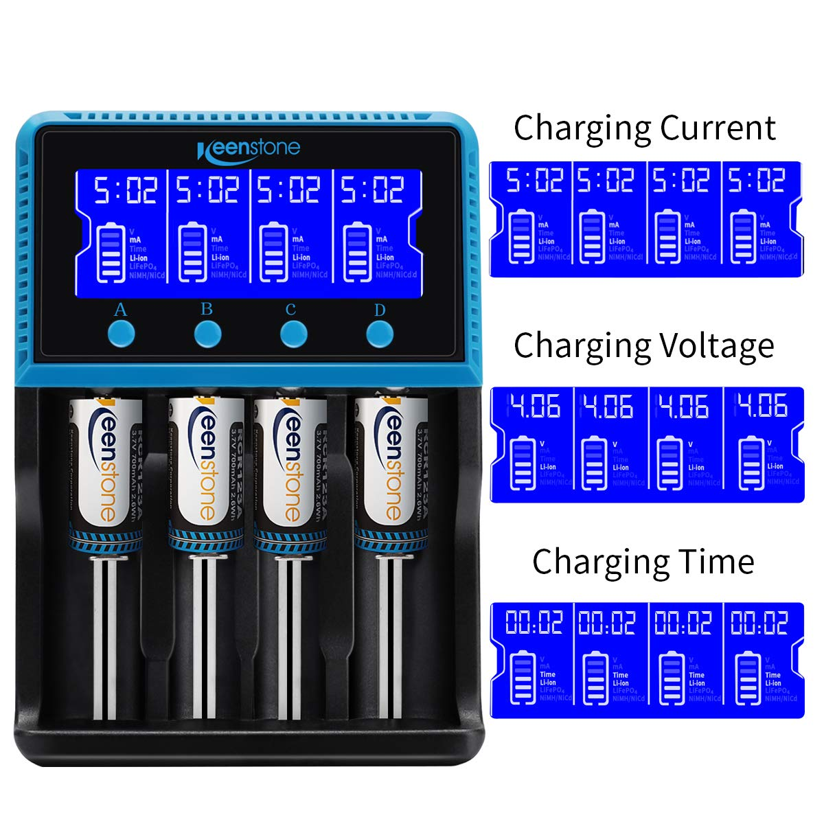 18650 Battery Charger, Keenstone Smart Universal Charger LCD Display for Rechargeable Batteries Ni-MH Ni-Cd AA AAA Li-ion LiFePO4 IMR 10440 14500 16340 RCR123A 26650