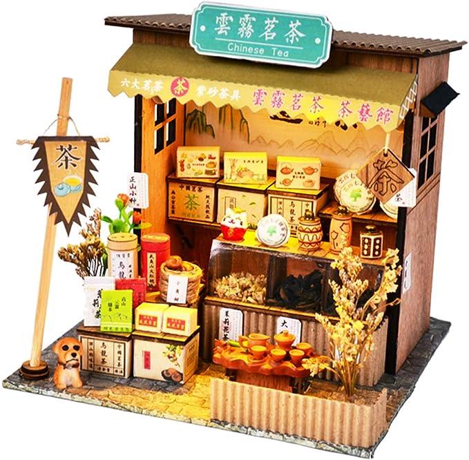 Assembly Cottage f/ür Weihnachten Geburtstagsgeschenk Holz DIY Miniatur Auto Shop Modell Jilijia DIY Miniatur Puppenhaus Buchhandlung Handmade Assembled Model Spielzeug