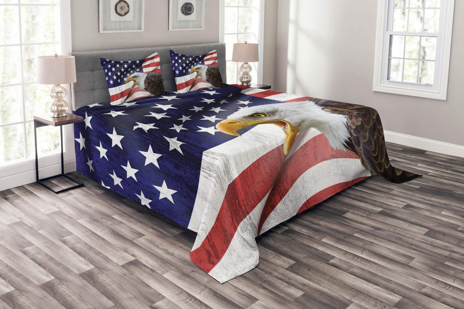 Ambesonne American Flag Bedspread, Eagle on Foreground Banner Pride History Solidarity Martial Identity, Decorative Quilted 3 Piece Coverlet Set with 2 Pillow Shams, King Size, Red Blue