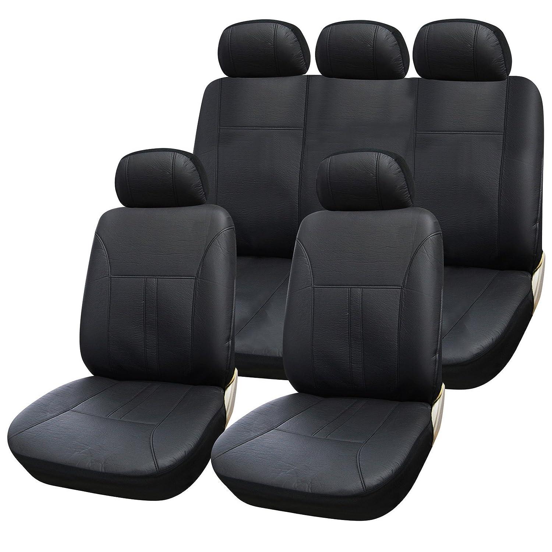 eSituro universal Auto Schonbezug Komplettset Sitzbez/üge f/ür Auto aus Kunstleder schwarz//gr/ün SCSC0090