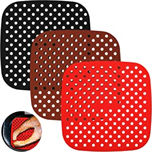 3 Pieces Reusable Air Fryer Liners Air Fryer Accessories Air Fryer Silicone Basket Mats Accessories for More Air Fryer (Red, Black, Brown)