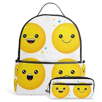 U vida feliz sonriente emoji mochila escolar Daypack Mochila con estuche soporte juego de bolsas para colegio escuela secundaria adolescentes niños niñas ...