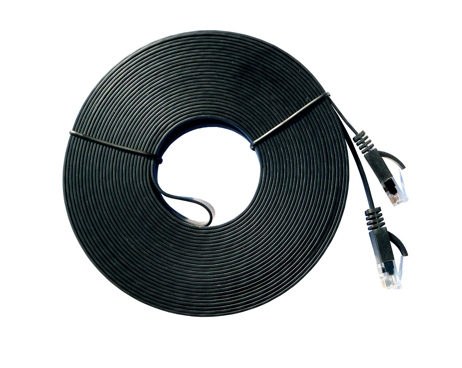 Cat 6 Ethernet Flat Cable 50ft, SZWD Store Slim Wire Patch Cord Rj45 High Speed Internet Network Cable for PS4 Computer Switch Boxes Modem Router-Black