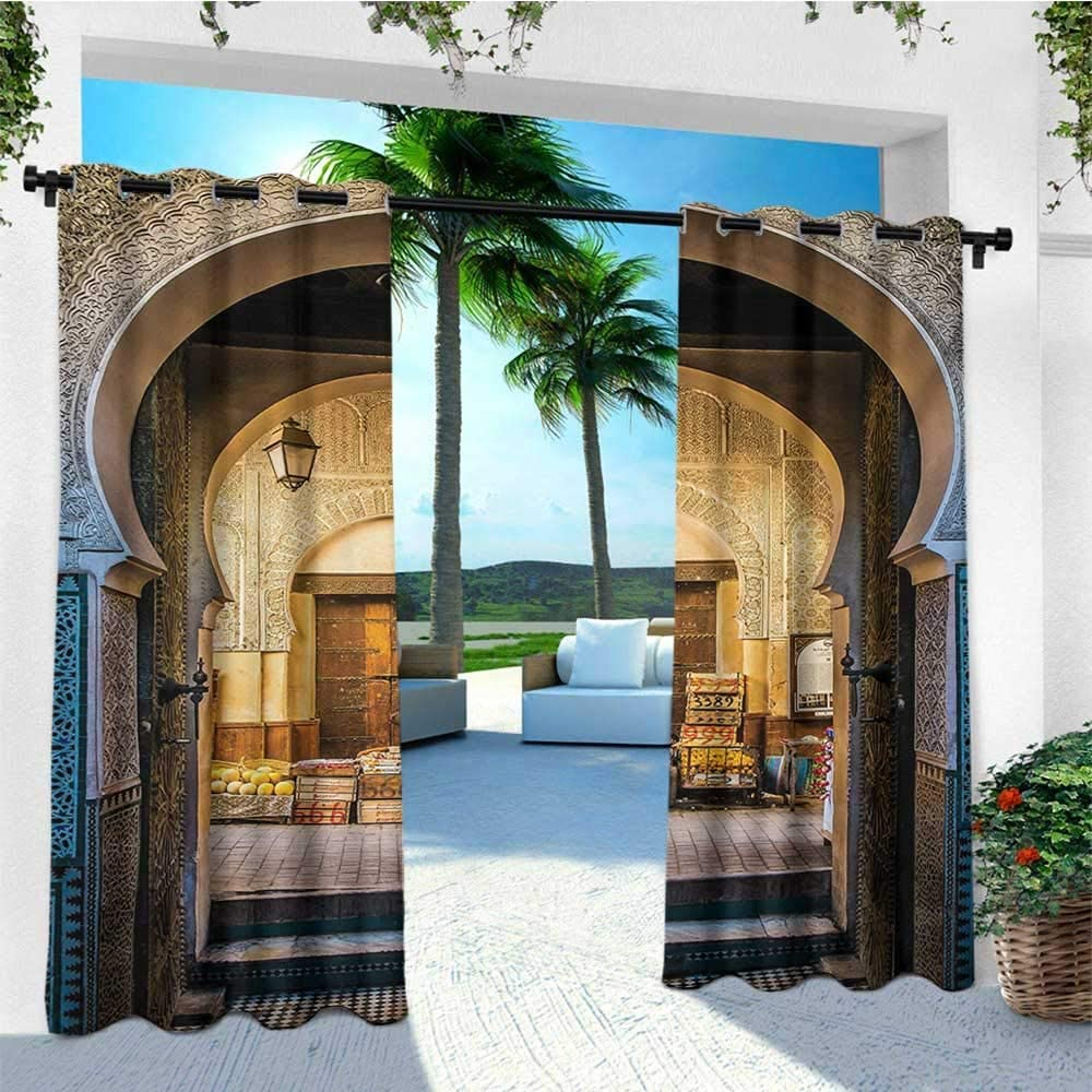 leinuoyi - Kit de Cortinas marroquíes para Exteriores, Puerta típica marroquí a Vieja Medina mediterránea histórica Arco Foto Entrada, Tela 182, 88 x 243, 84 cm, Color Azul y Beige: Amazon.es: Jardín