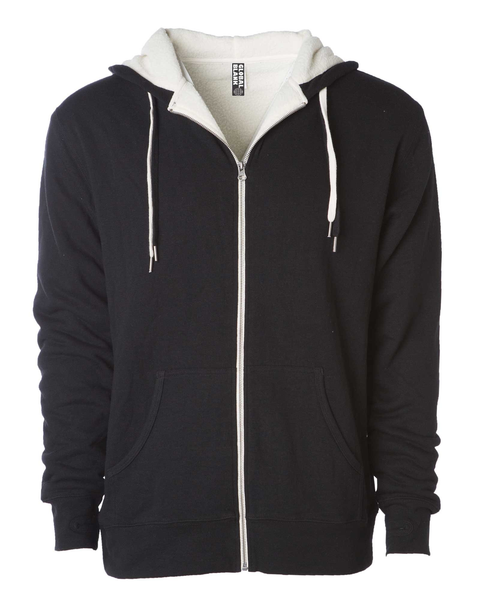 Global Heavyweight Sherpa Lined Zip Up Hoodie For Men Hooded Sweatshirt Fleece Jacket Black M