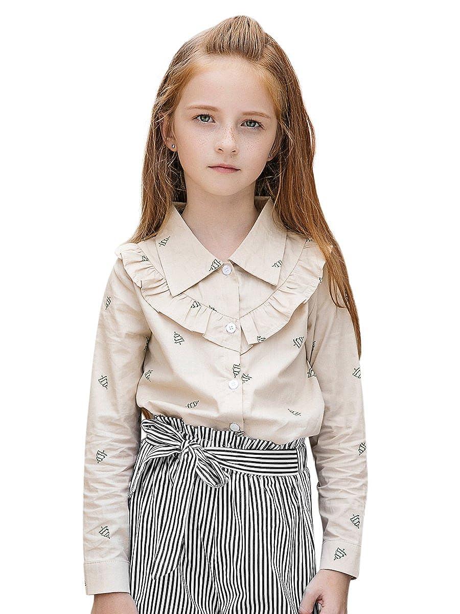Sanlutoz Increspatura Ragazze Top Principessa Manica Lunga Abbigliamento per Bambini Casuale Costume Camicie