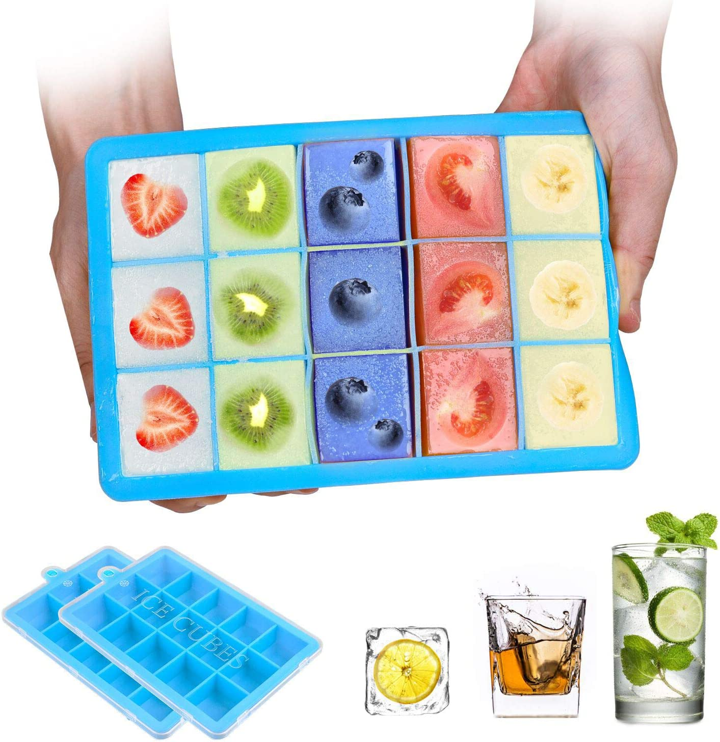 Ice Cube Trays,2-Pack Silicone Ice Cube Molds with Lid Food Grade Silica Gel Flexible and BPA Free with Spill-Resistant Removable Lid Ice Cube Molds for Chilled Drinks, Whiskey & Cocktails