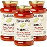 Organico Bello - Organic Gourmet Pasta Sauce - Spicy Marinara - 24oz (Pack of 3) - Non GMO, Whole 30 Approved, Gluten Free