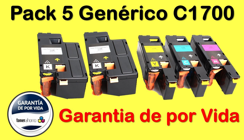 5er Pack - XXL Toner Kompatibel zu Epson Aculaser C 1700 C1700 C 1750N C1750 C1750W CX17 CX 17 CX17NF CX17WF CX 17WF C13S050614 C13S050613 C13S050612 C13S050611 (2.000 Seiten Schwarz Je farbe 1.400 Seiten C/Y/M) Merotoner® kein Epson Original