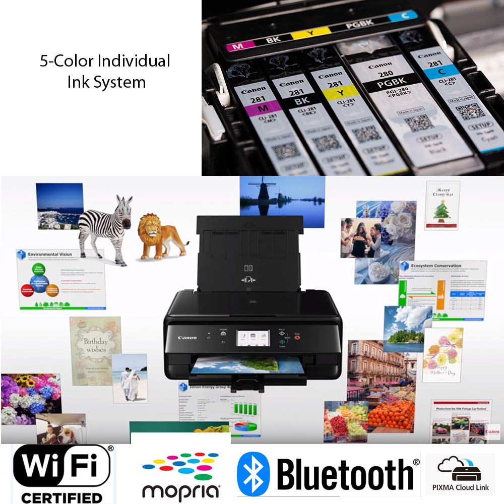 Canon Pixma TS6120 Wireless Inkjet All-in one Printer (Black) with Scan, Copy, Mobile Printing, Airprint & Google Cloud + Set of Ink Tanks + Photo Paper (100 Pack) + USB Printer Cable + HeroFiber by HeroFiber (Image #5)