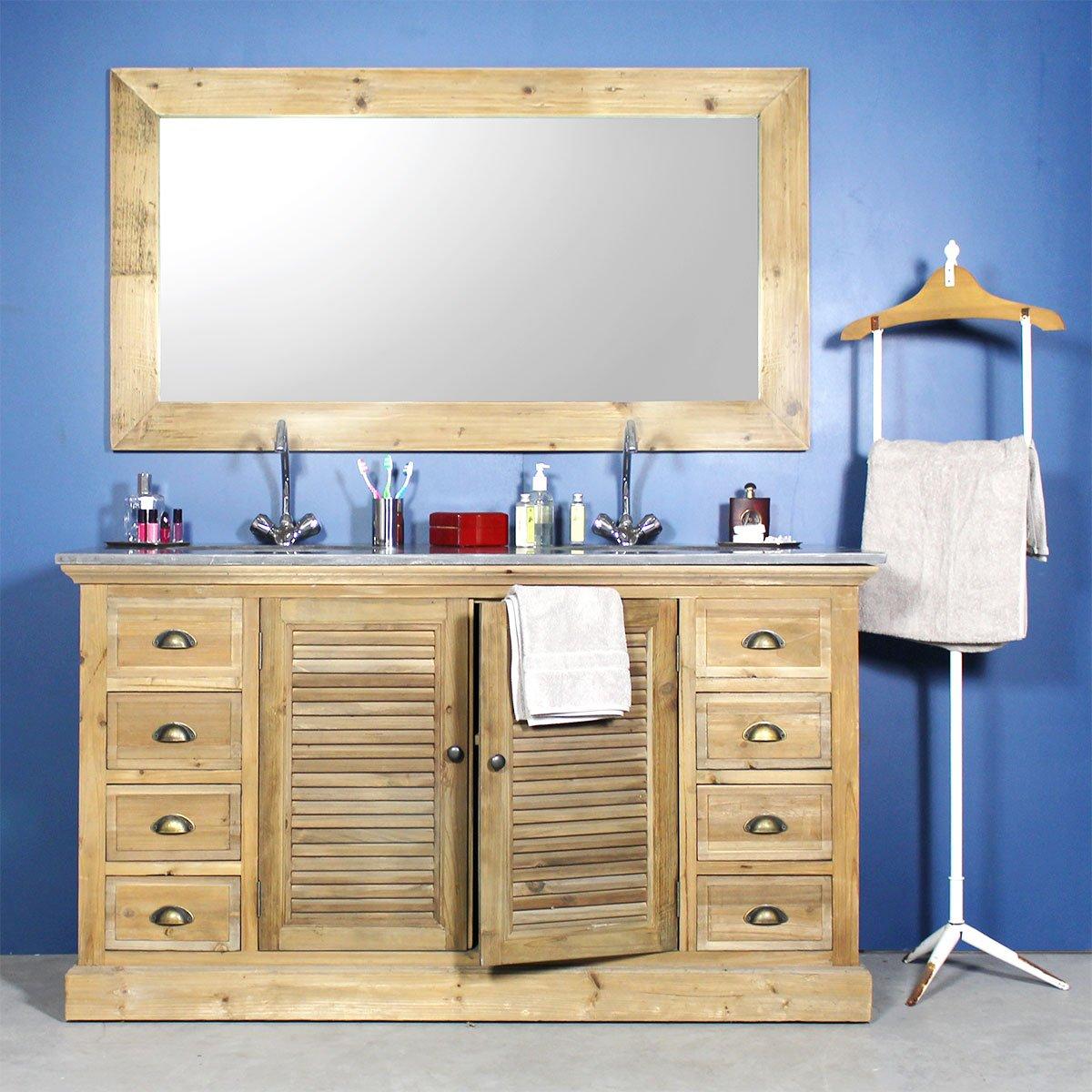 Waschtisch Badezimmer Holz Recyceltem 2 Waschbecken, 2 Türen, Clayettes 8  Schubladen | Kh16 Bois Günstig Online Kaufen