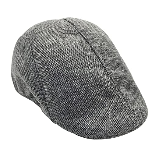 TINKSKY Mens Womens Flax Beret Cap newsboy Flax Sunscreen Hat Cabbie ... 57c034f576ba