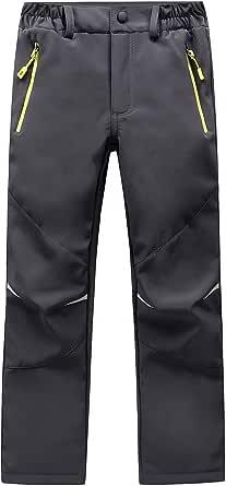 LAPLBEKE Niños Softshell Pantalones de Trekking Senderismo Pantalones Niñas pantalón Impermeable Resistente al Viento Transpirable cálido Lluvia Pantalón Esquí