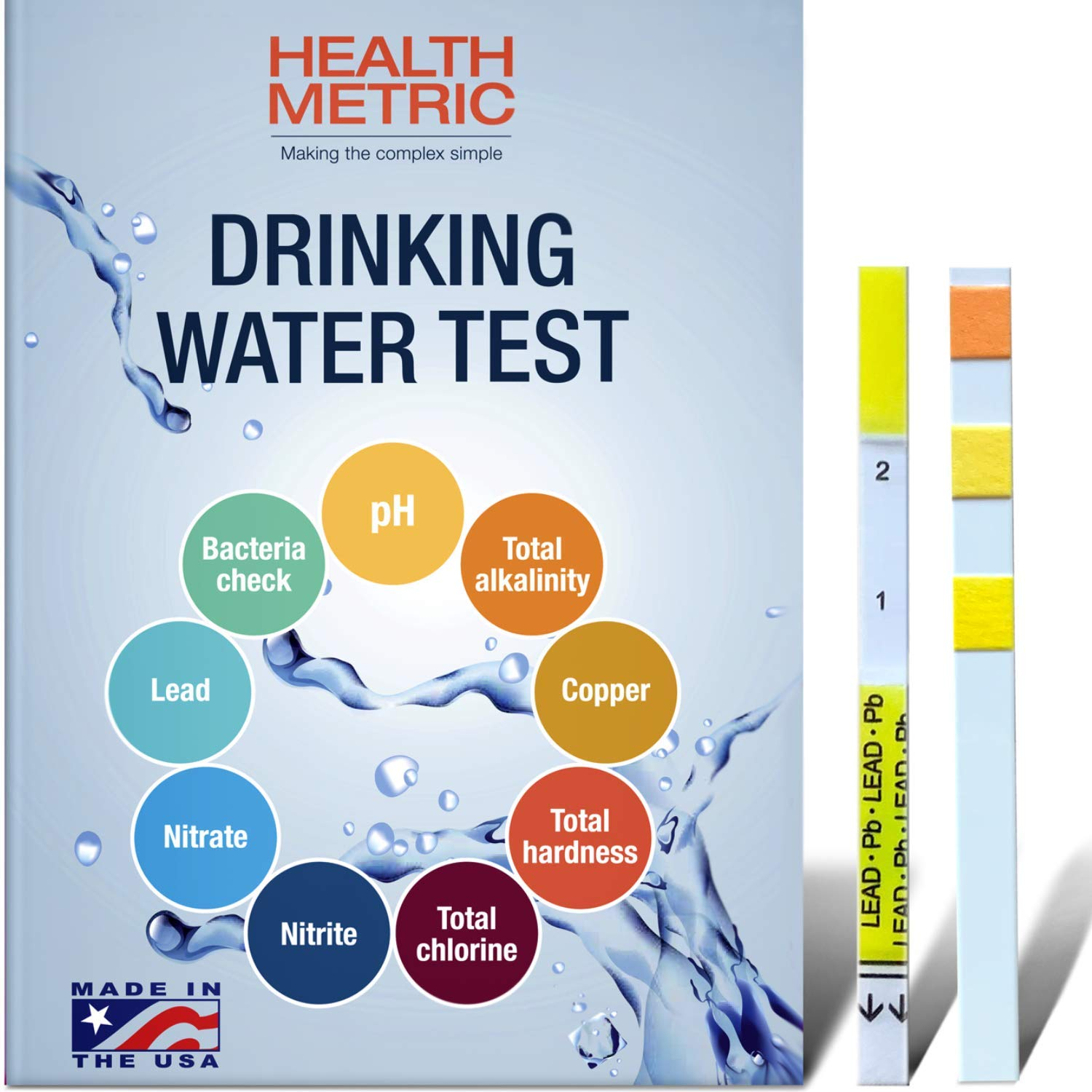 Drinking Water Test Kit For Home Tap And Well Water Easy To Use Testing Strips For Lead Bacteria Ph Copper Nitrate Chlorine Hardness And More Made In The Usa