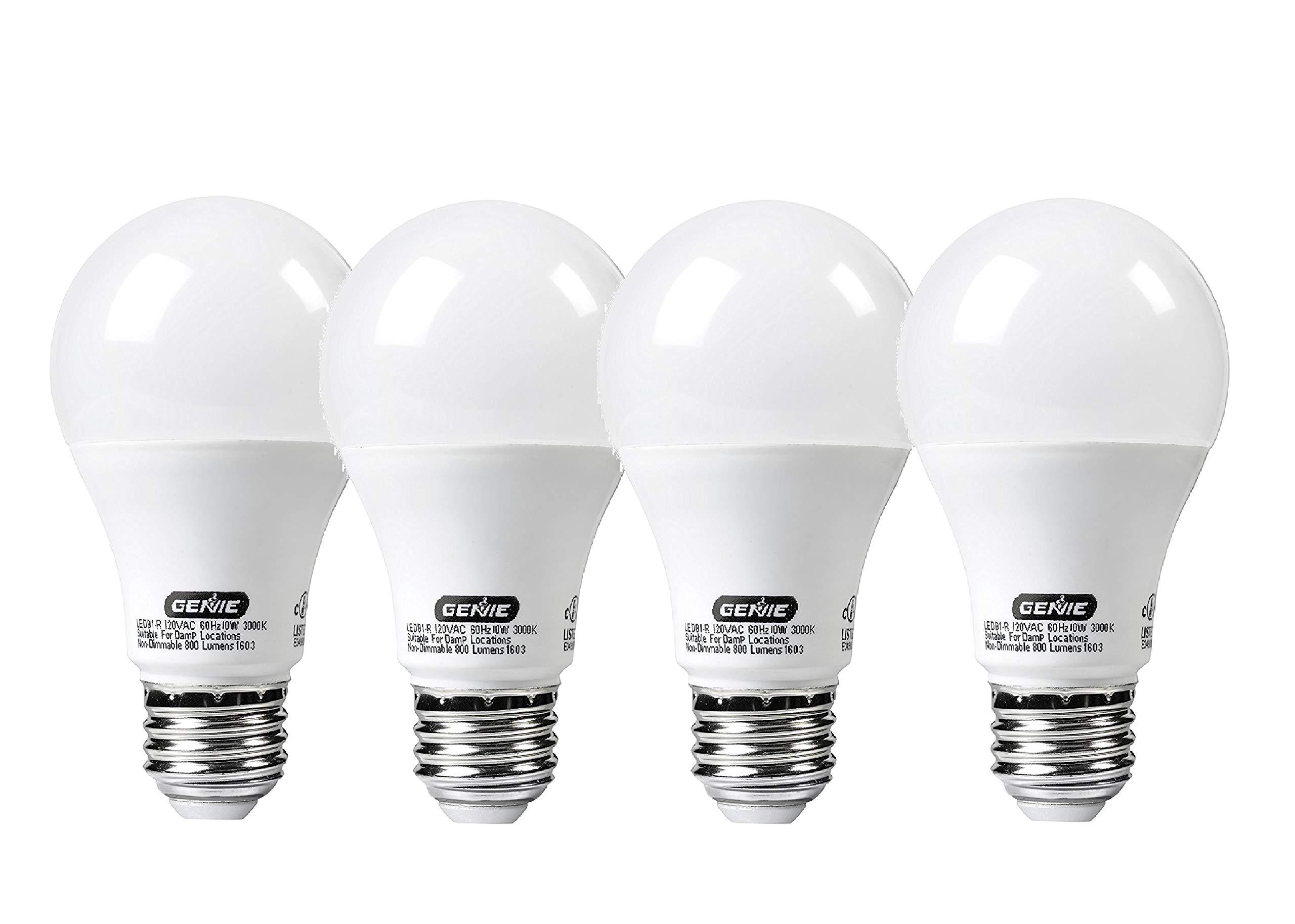 Genie LED Garage Door Opener Light Bulb - 60 Watt (800 Lumens) - Made to Minimize Interference with Garage Door Openers (Compatible with All Major Garage Door Opener Brands) - LEDB1-R (4 Pack) by Genie