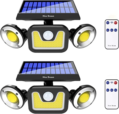 Solar Lights Outdoor with Motion Sensor, 3 Heads Security Lights with Remote Control, 83 LEDs Flood Light Outdoor, Motion Detected Spotlights for Garage Yard Patio, IP65 Waterproof 2 Packs