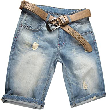 551b64263d89 Valuker Herren Denim Bermuda Jeans Shorts Sommer Kurze Hose hellblau Ohne  Guertel W36